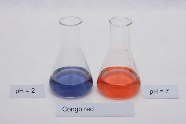 colors of congo red indicator in different pH solutions