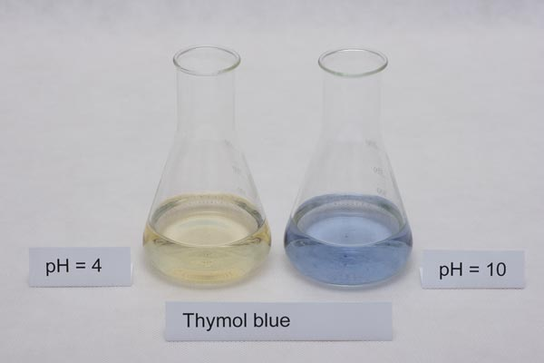 colors of thymol blue indicator in different pH solutions